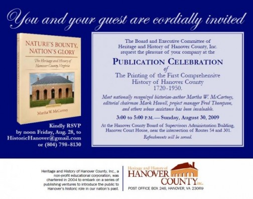 Printing of the First Comprehensive History of Hanover County 1720-1950